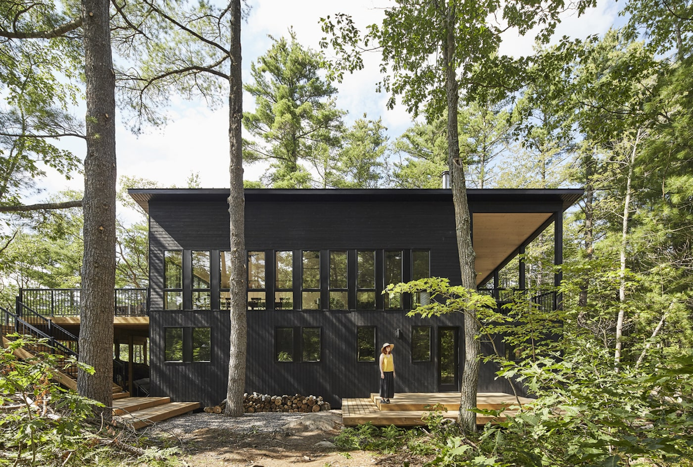 Black timber clad eco home