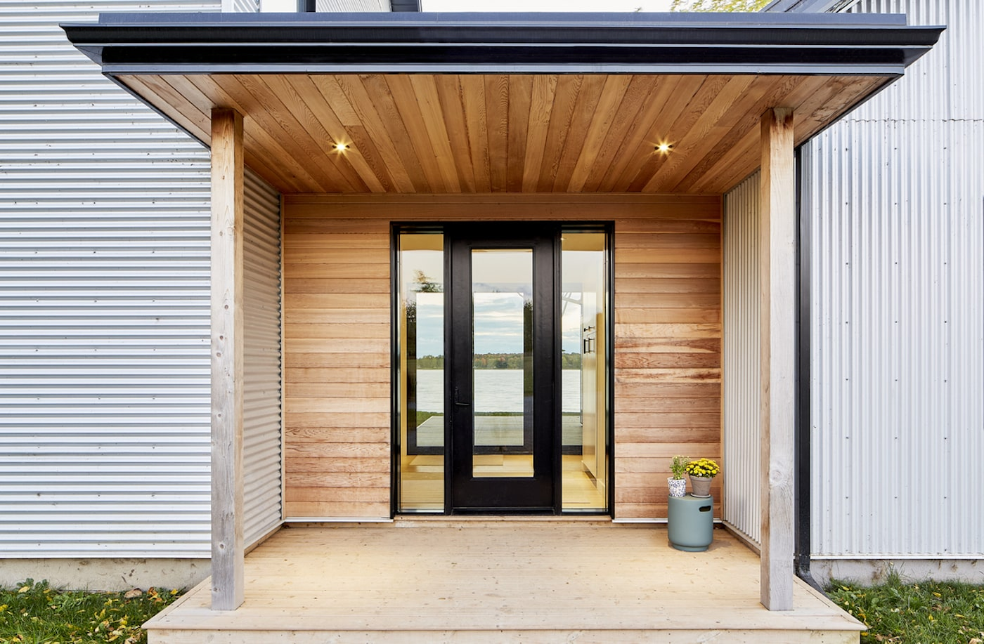 Timber clad wall of eco home