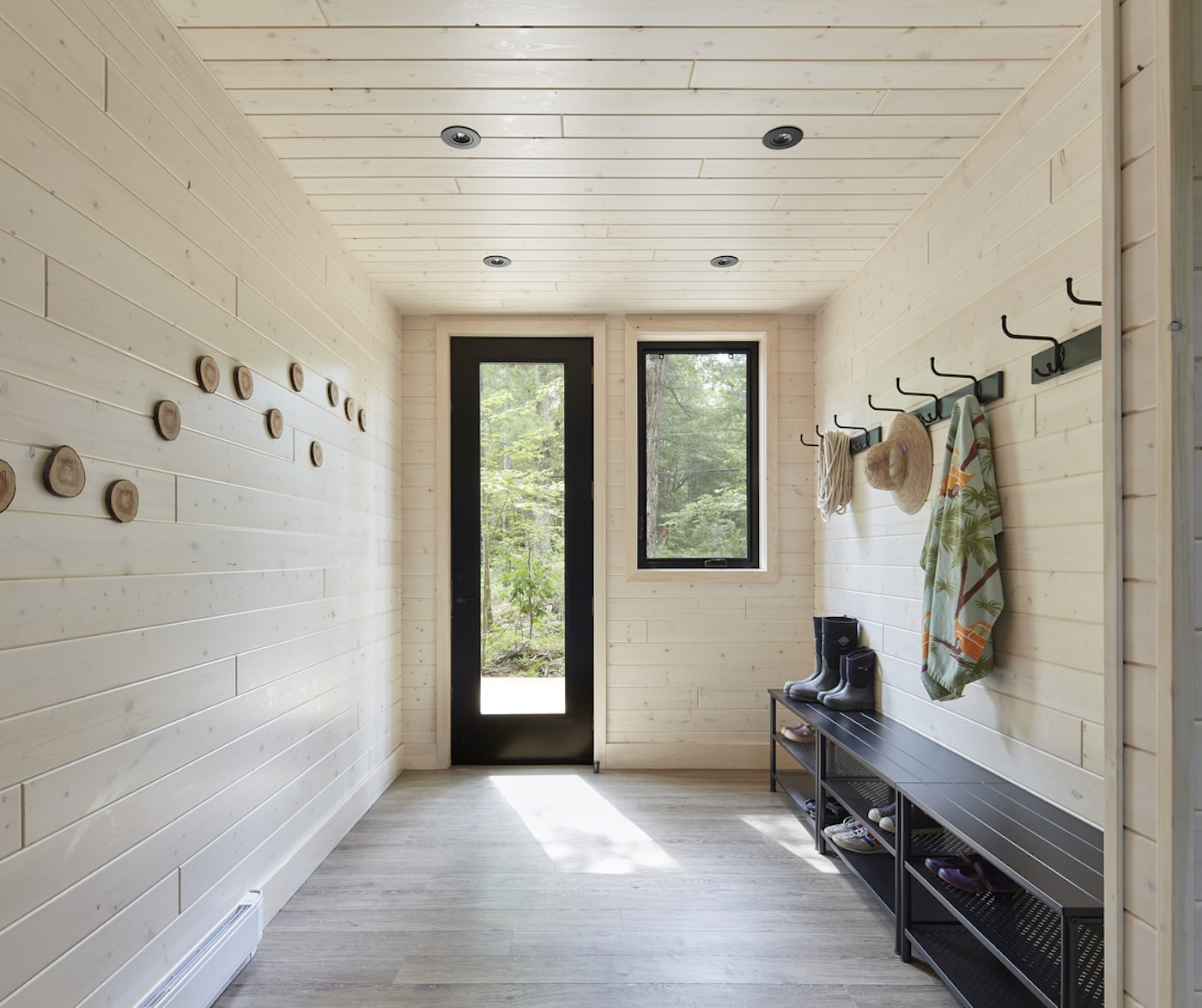 All timber entryway in eco home