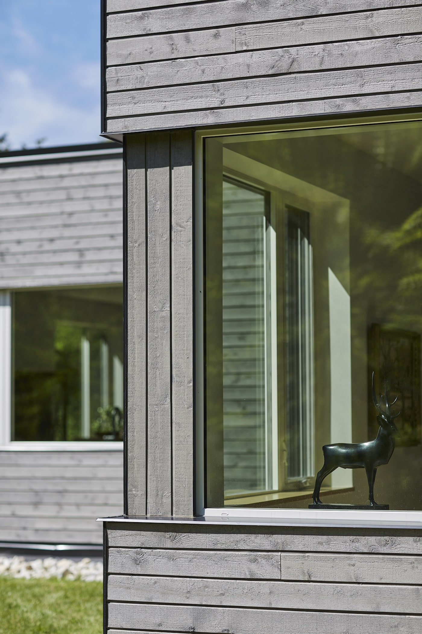 Timber cladding and window detail of eco house