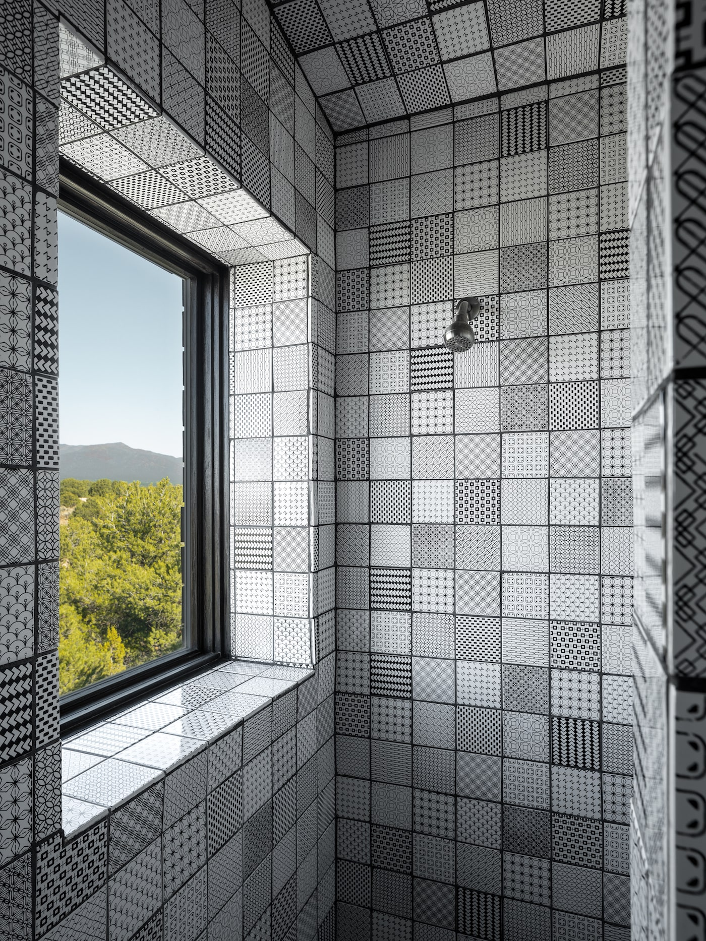 Hand made tiles in shower