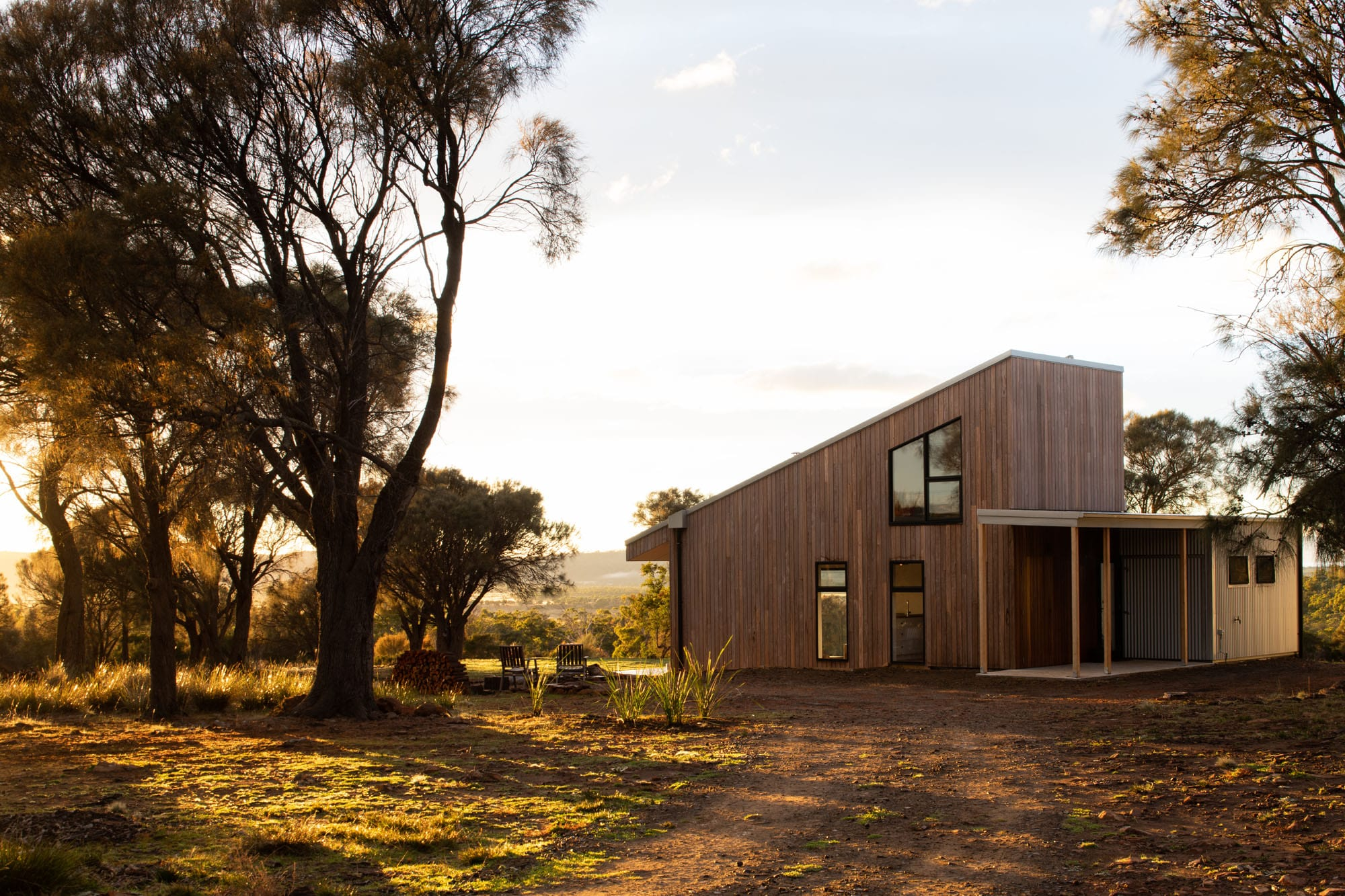 Rear view of timber clad off-grid home