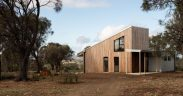 Driveway of timber clad sustainable house