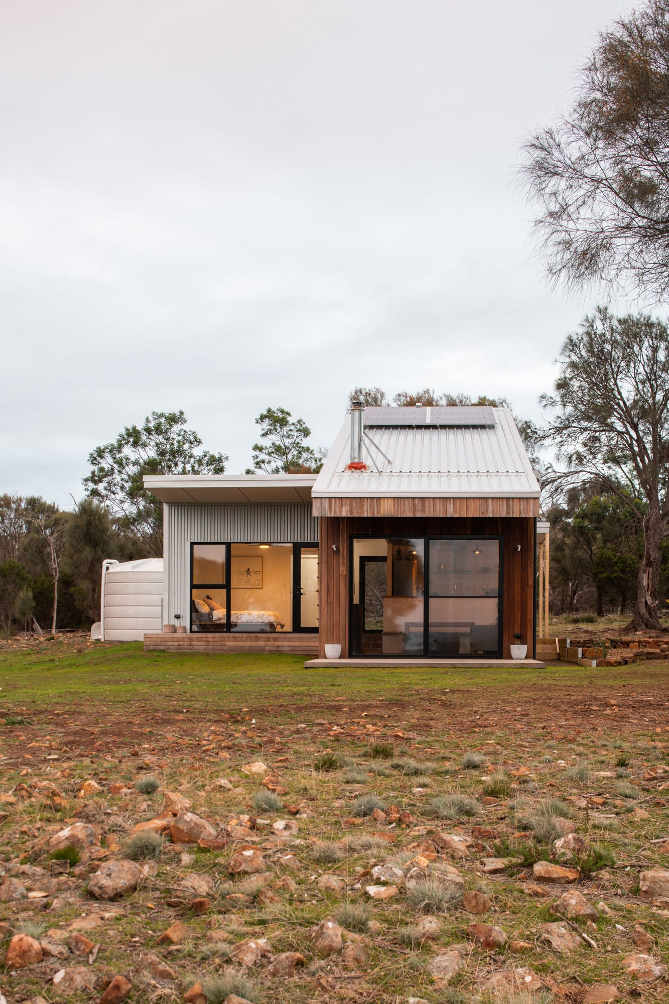 Front view of timber and metal clad sustainable home