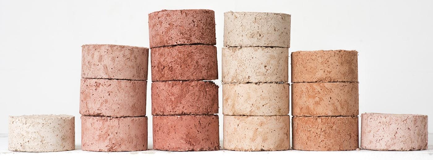 Blush coloured sustainable masonry bricks