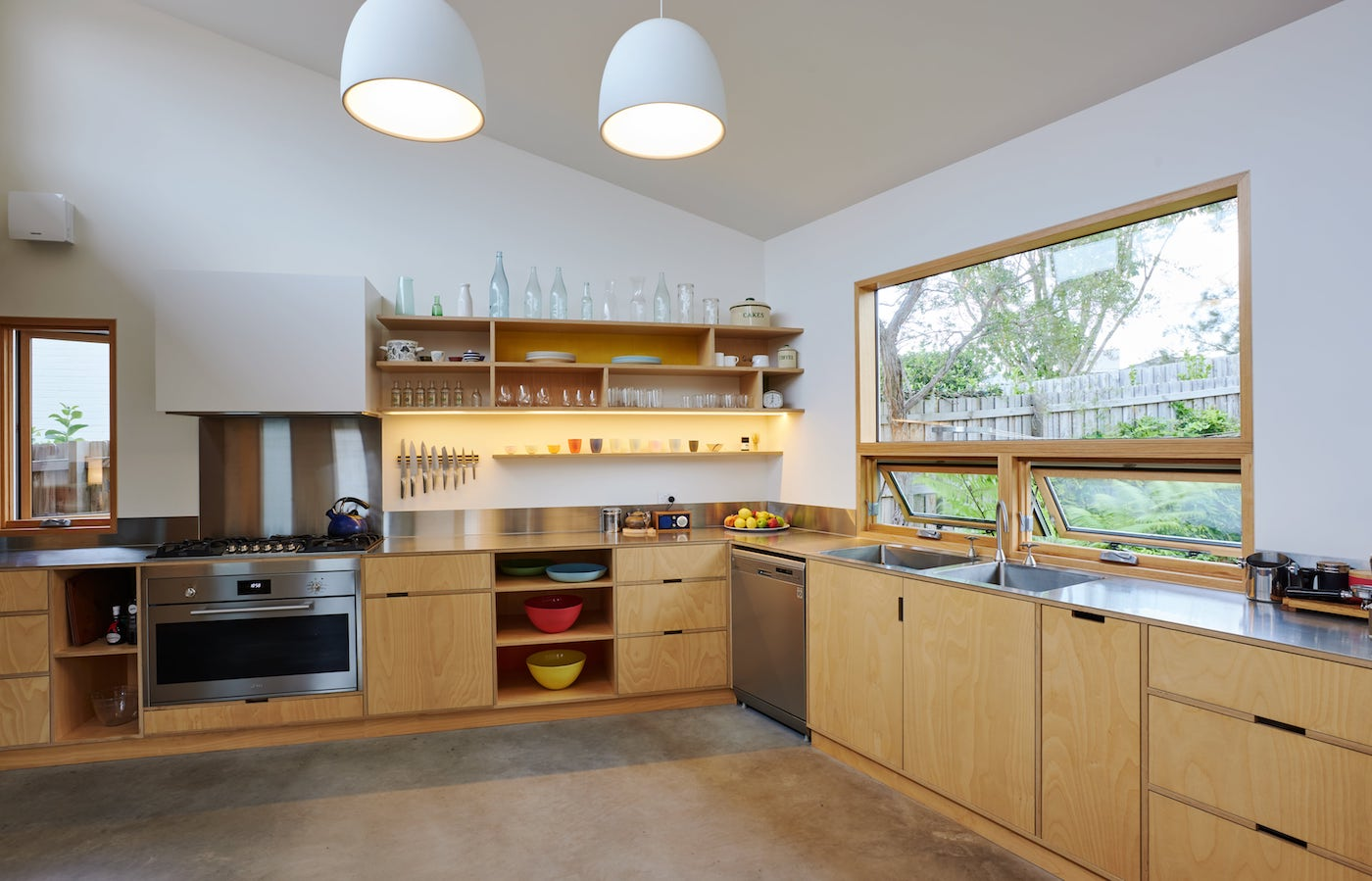 Timber kitchen with timber shelving