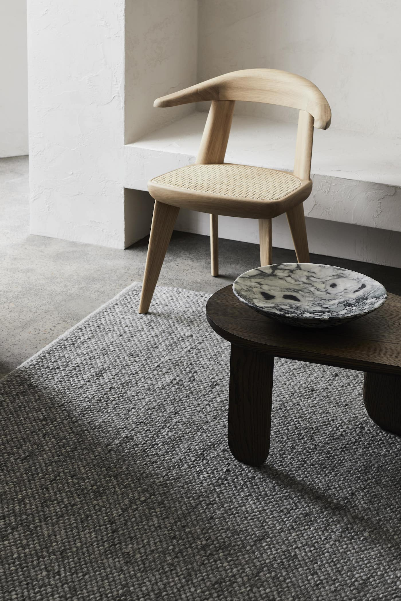 Charcoal with light timber chair