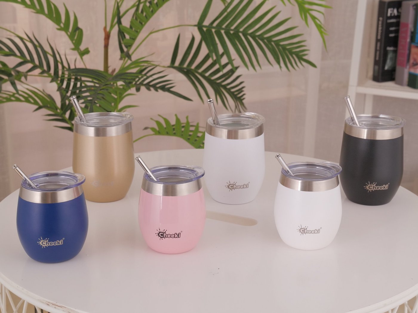 Insulated wine tumblers on table