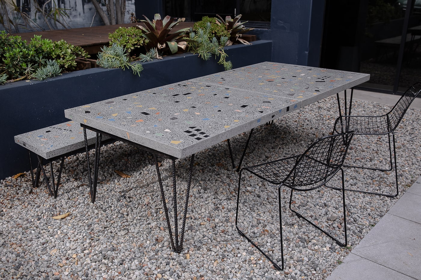 Concrete outdoor table top and bench seat