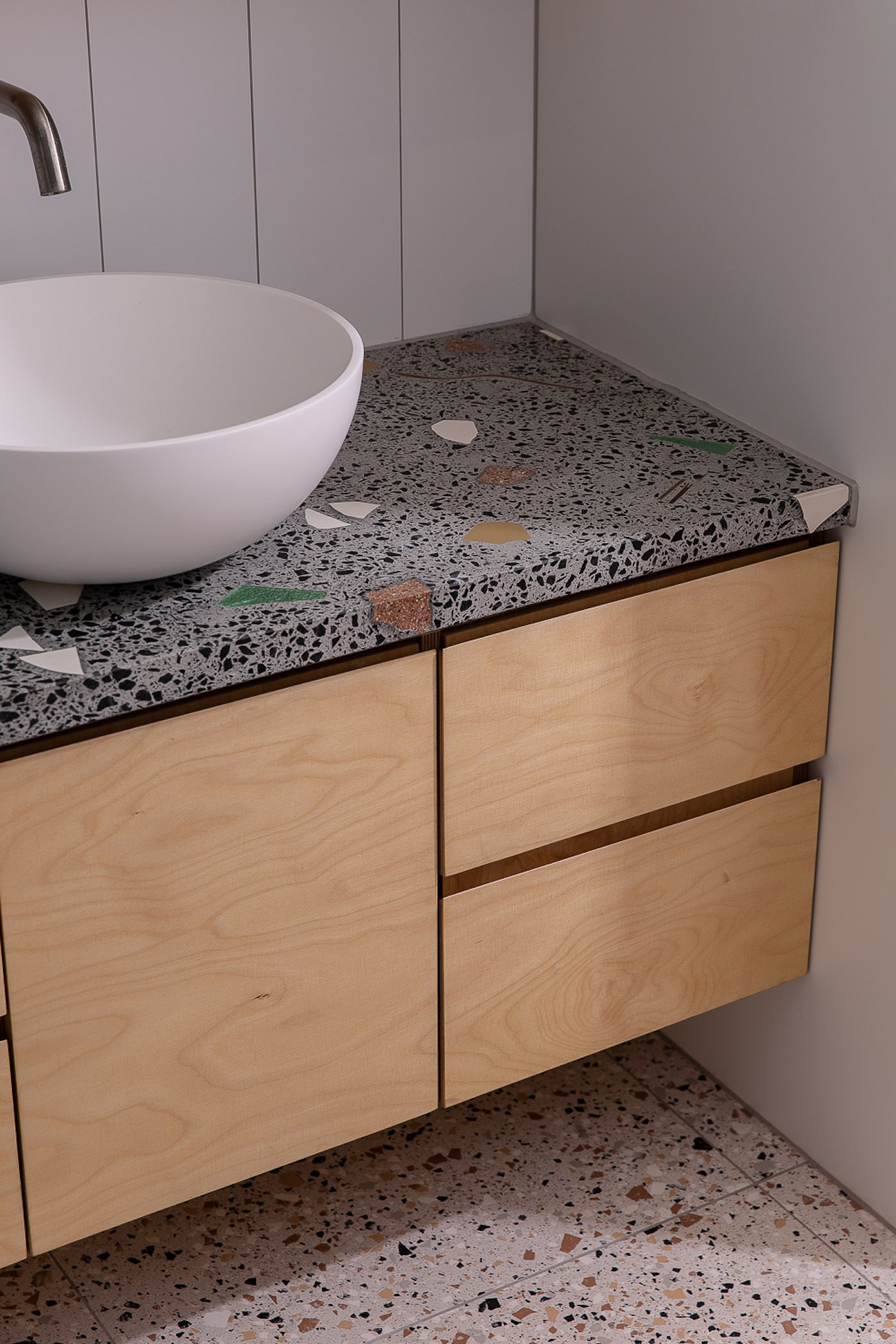 Concrete bathroom bench top and timber vanity