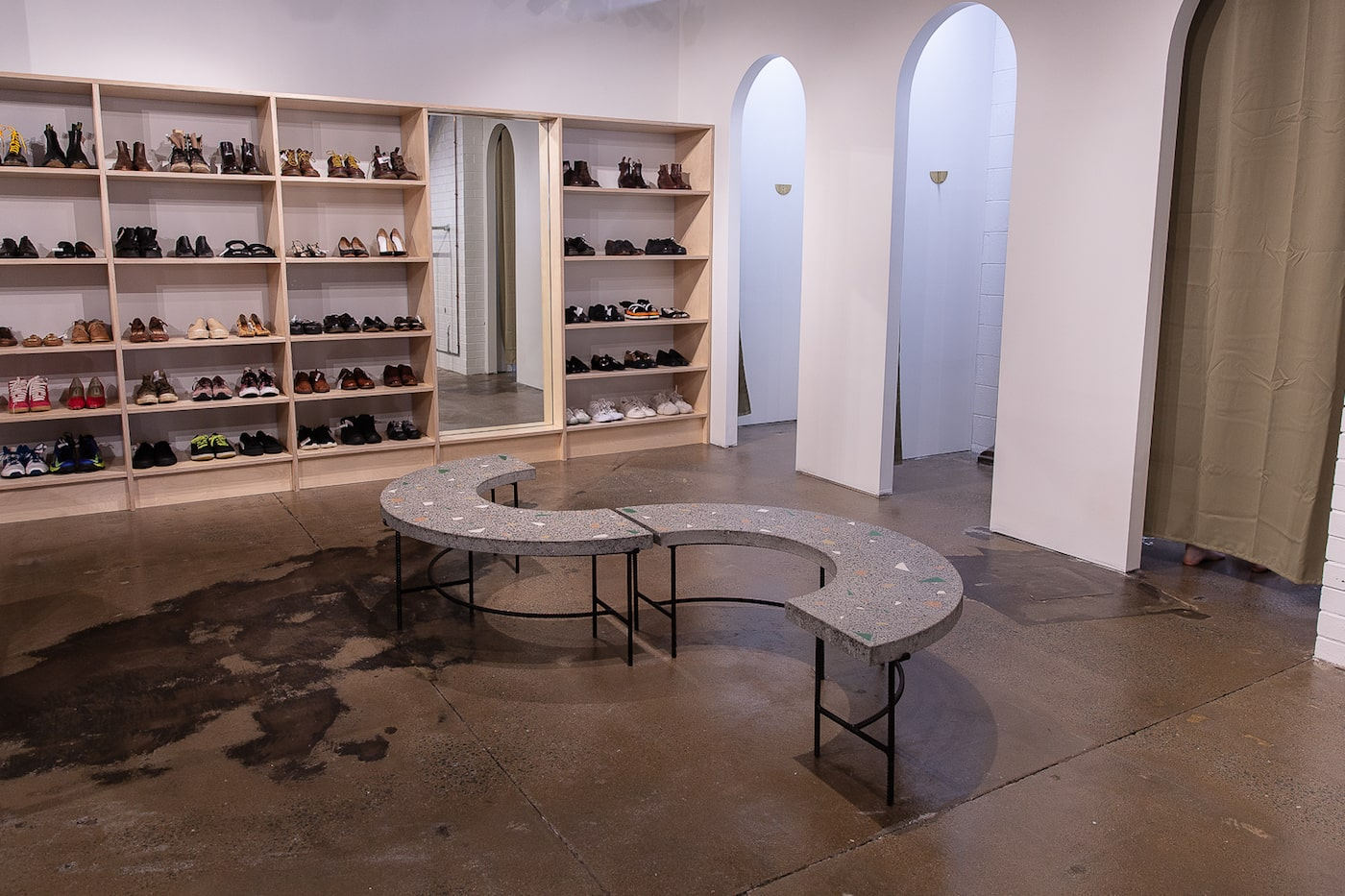 Concrete seat in store seating