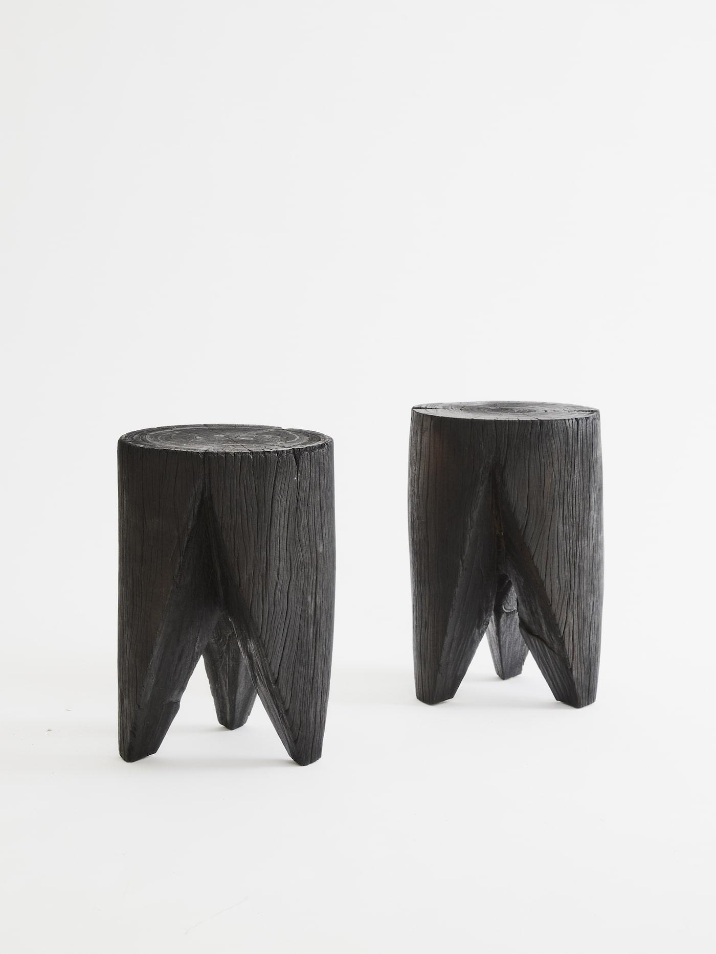 Black timber Telegraph stools