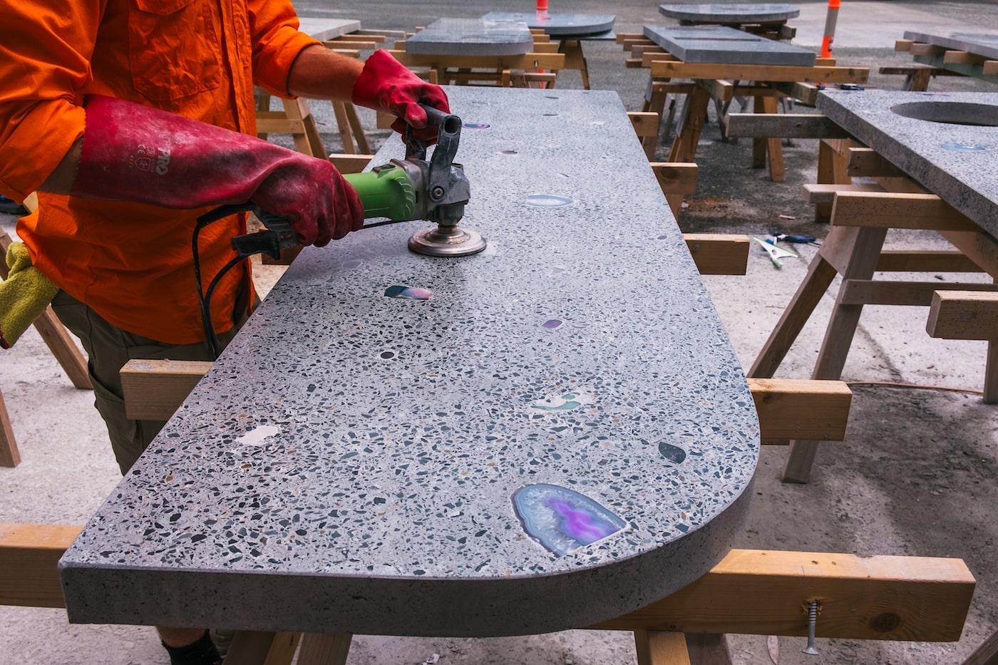 Sanding concrete table top