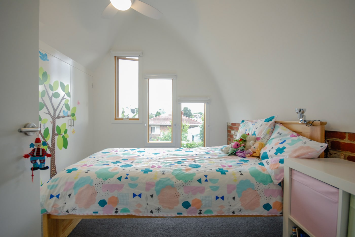 Childs bedroom with colourful doona cover