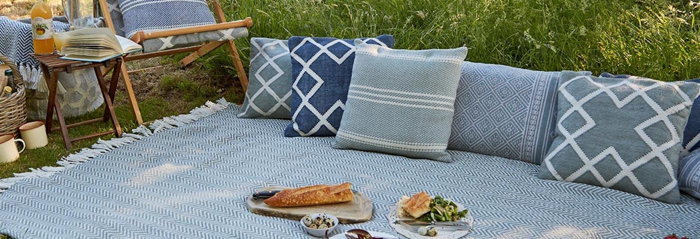 Weaver Green blue picnic rug and cushions